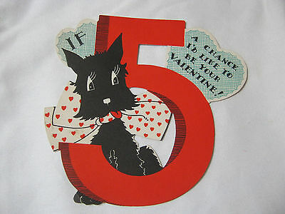 VINTAGE VALENTINE WITH SCOTTIE DOG CARD     T*