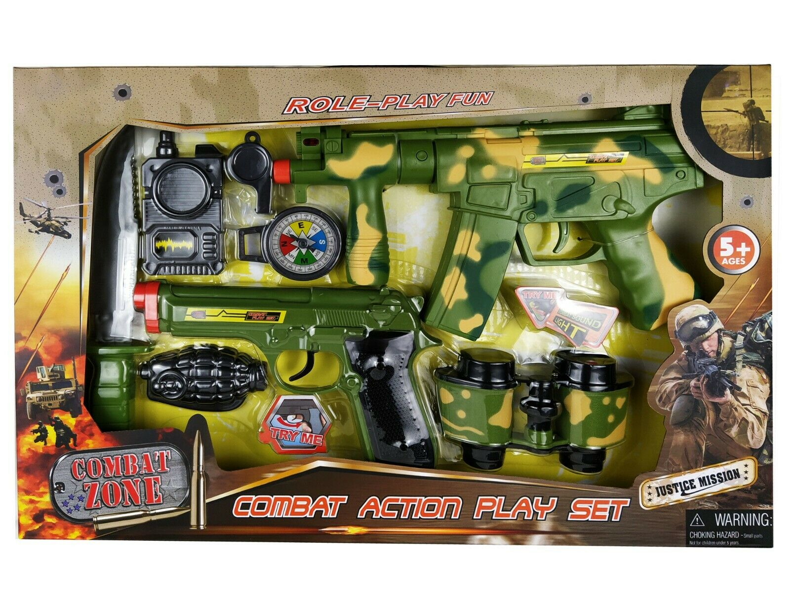 Kids First Elite Force Military Play Toy Gun Set of 5 Pieces w// Rifle /& Pistols