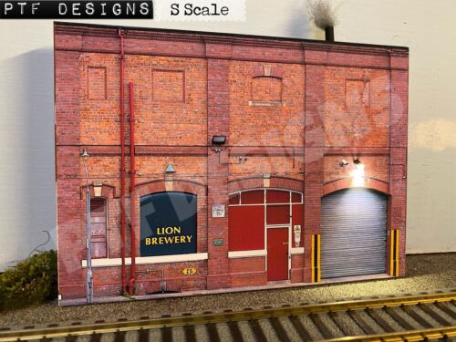 S Scale 🍺 Brewery Building Flat / Front 3D Background w/ LED, 4 American Flyer