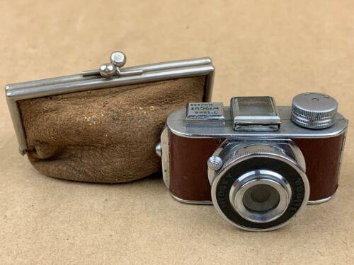MIDGET JILONA Hit Type Vintage Subminiature Camera w/ Brown Leatherette - Tiny !