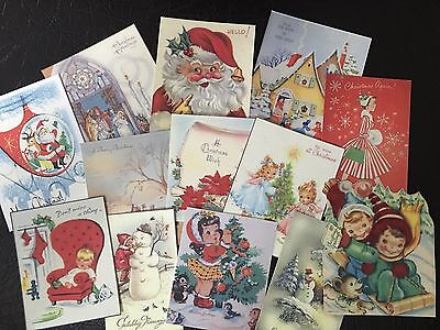 BB49 Lot of 13 Vintage CHRISTMAS GREETING CARD DIE CUTS 4 CARD MAKING Free Ship