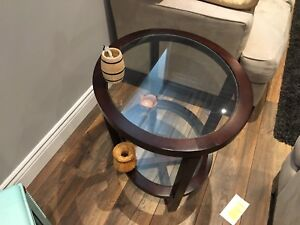 Dark wood and glass coffee and end tables