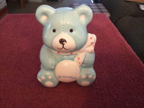 Ceramic Blue Hershey Park Teddy Bear Bank