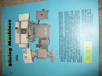 K O Lee Manual Slicing Machines 4 Pgs. Technical Data Std. Equipment Mint