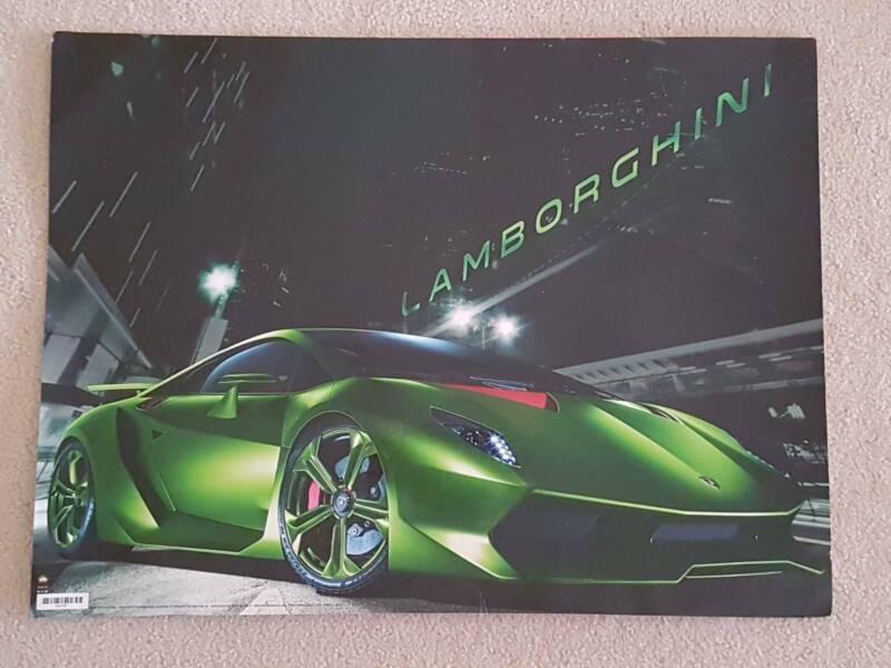 Green Lamborghini Poster 61x46cm Sesto Elemento Model Decorative