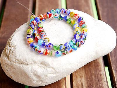 MILLEFIORI Glas Perlen 6 mm transparent Strang Blumen Murano Design ca. 65 Stück ()