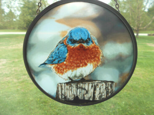 Blue Bird window Suncatcher-realistic image-Glassmasters-artist signed