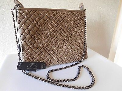 New FALOR Firenze ITALY, Hand Woven Leather Crossbody Clutch, Shoulder Bag.