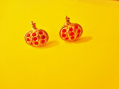 Vintage Avon Halloween Pumpkin Rhinestone Pierced Earrings
