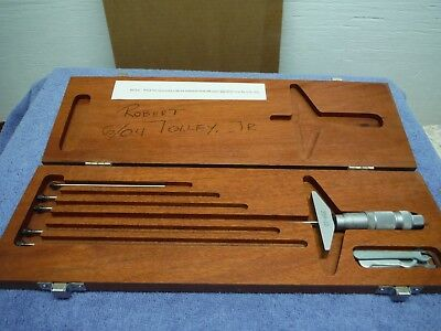 Brown And Sharpe Micrometer Wooden Box Set 0 To 6 Inch Range 359-10