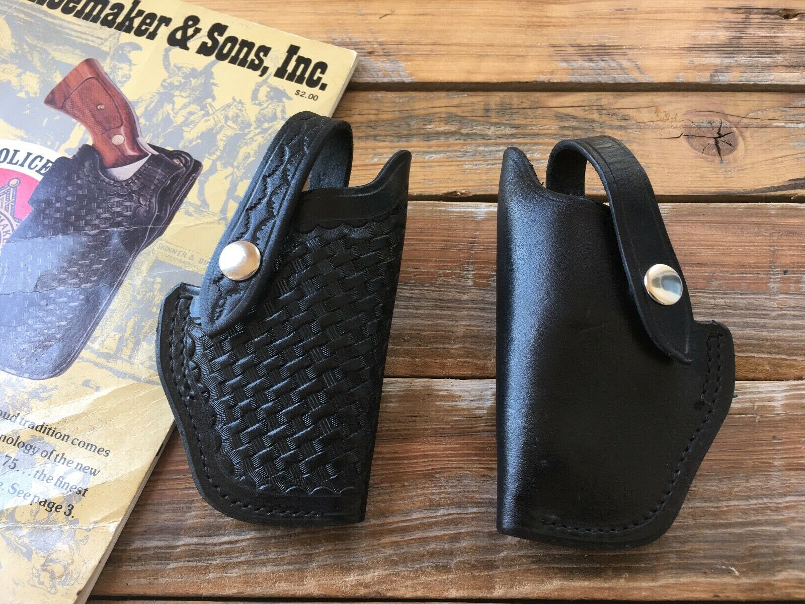 vintage 3s black leather owb holster