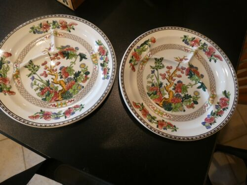 """Vintage Two (2) BOOTHS INDIAN TREE Divided Picnic Plate 10 5/8"""""""