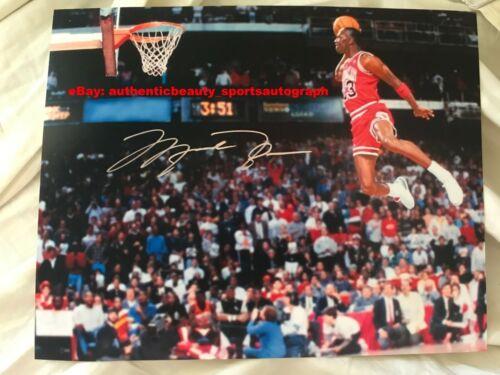 MICHAEL JORDAN CHICAGO BULLS #23 NBA CHAMPION MVP SLAM DUNK SIGNED 12x18 REPRINT