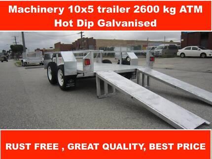 Machinery 10x5 Trailer 2600 kg GVM, Heavy Duty