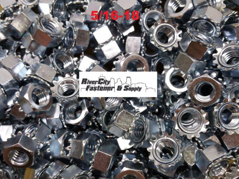 (1000) 5/16-18 External Star Lock / Kep Nuts 5/16 x 18 Locking Keps Nut Locknuts