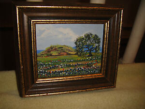 Superb-Dolores-Walker-Miniature-Oil-Painting-On-Board-Flower-Country-Farm-Signed