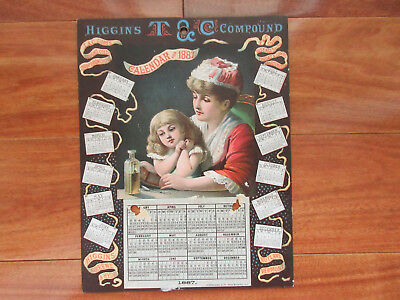 1887 HIGGINS T. & C. Compound MEDICINE Mother & Daughter Calendar Sign
