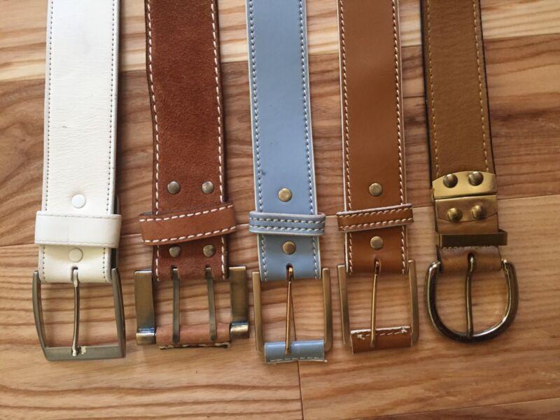 Lot Of 5 Vintage 1960s 70s Leather Belts Mod Groovy Retro Hippie Sz32