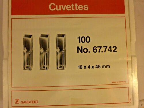 Rack/100 SARSTEDT 10x4x 45mm Polystyrene Semi-Micro Cuvettes No. 67.742