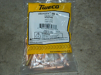 Tweco Vtet45 Velocity Series Tapered 0.045 Copper Nozzle For Mig Guns 10-pack
