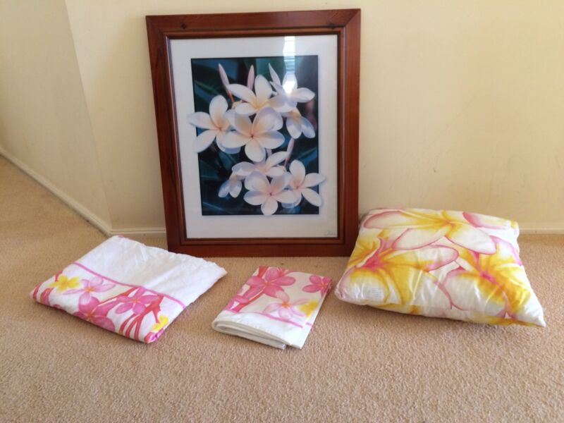 Frangipani quilt cover, cushion and picture | Manchester ... : frangipani quilt cover - Adamdwight.com