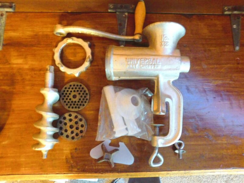 Vintage Universal Meat Grinder No. 333 with Original Box, all parts