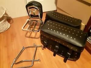 Motorcycle saddle bags brackets sissy bar luggage rack