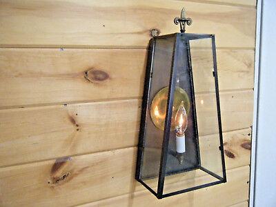 Art Deco Copper Sconce (`Vintage Solid Antique Copper Lamp Light Fixture Sconce Art deco Patina)