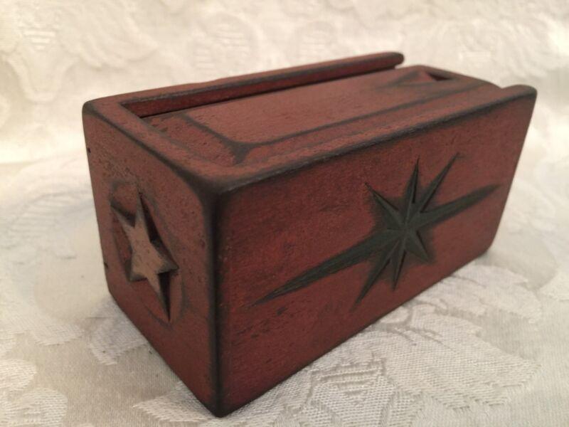 Tom Douglass Artist Antique Folk Art Primitive Small Box Lid Wood Rare Americana