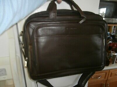 Samsonite Brown Leather Business Case Expandable Laptop Briefcase Carry On