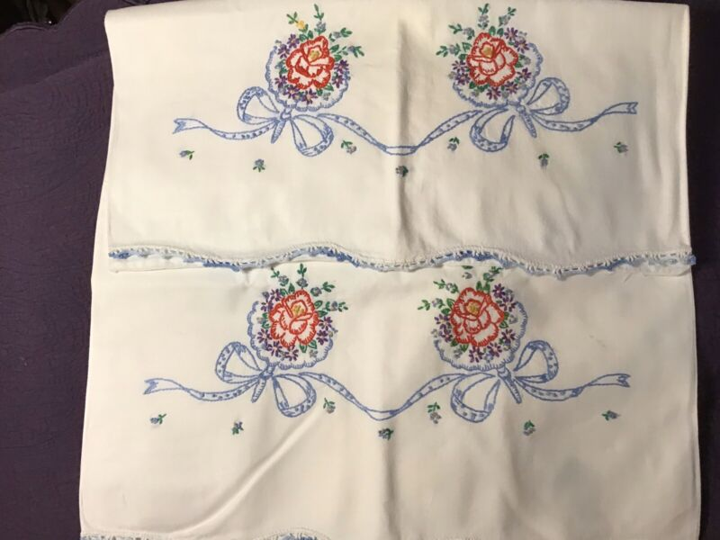 Vintage Hand Embroidered Pillowcases Nosegays Crochet Edges Roses