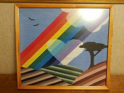 WOW! LARGE HAND-MADE TAPESTRY; LGBTQ+ RAINBOW LOVE, Framed & NR Glazed - SUPERB!