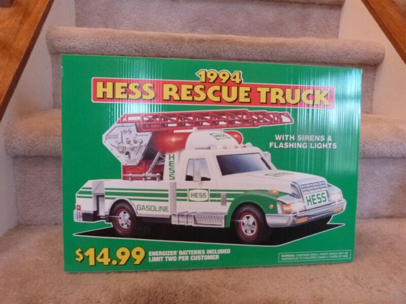 """VINTAGE 1994 Hess Toy RESCUE Truck Store Display Pump Topper Sign 18""""x12"""""""