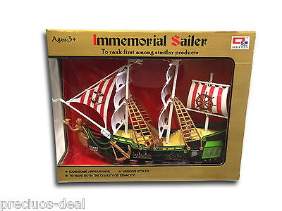 Kids Play Moving Pirate Ship with Wheel Pirate pull Along Ship Toy Set