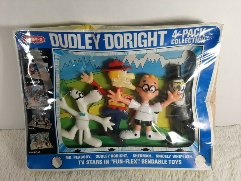Vintage Mr. Peabody and Sherman Dudley Doright Wham-O Bendy 4-Pack New MIB 1972