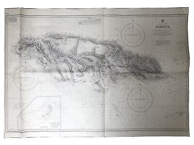 Nautical Chart Water Depth Map Vintage Poster Jamaica 1880 1960s