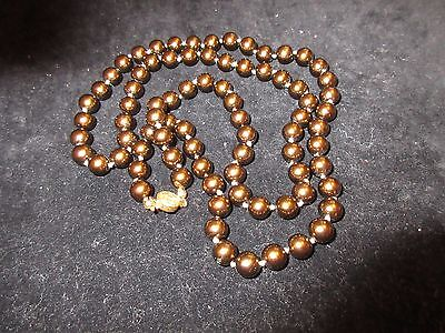 (Long Statement Necklace Brown Tone Imitation Pearl Gold Bronze Elegant Chic)