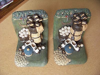 pair of Golf equipment bookends balls bag clubs bucket shoes hat gloves book end