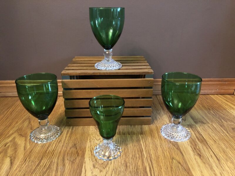 """Anchor Hocking Forest Green Boopie (3) Ice Tea Goblets 5.5"""" and (1) 4.5"""" Juice"""