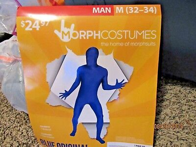 NWT Men's Morphcostume Blue Original Halloween Costume Size Medium (32-34) (Original Halloween Costumes For Men)
