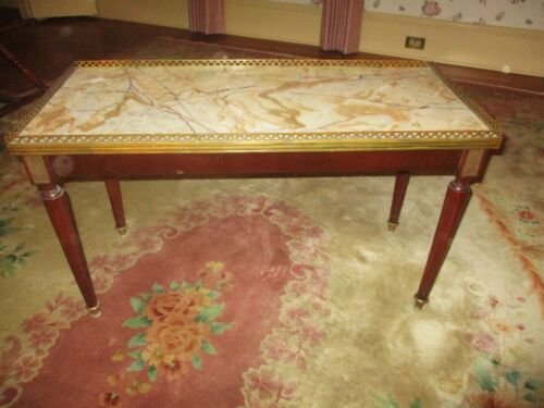 ANTIQUE LOUIS XVI FRENCH RECT COFFEE TABLE W/ BRASS GALLERY & MARBLE