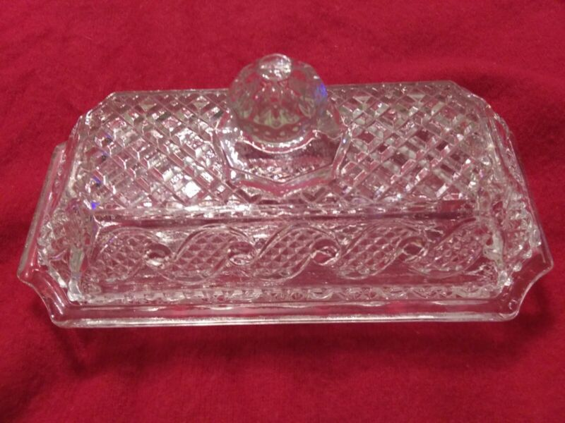 VINTAGE Clear Crystal Glass Covered Butter Dish Crystalucent Avon Cape Cod Waves
