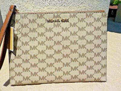 Michael Kors Jet Set Signature PVC XL Zip Clutch Wristlet Natural Luggage $98