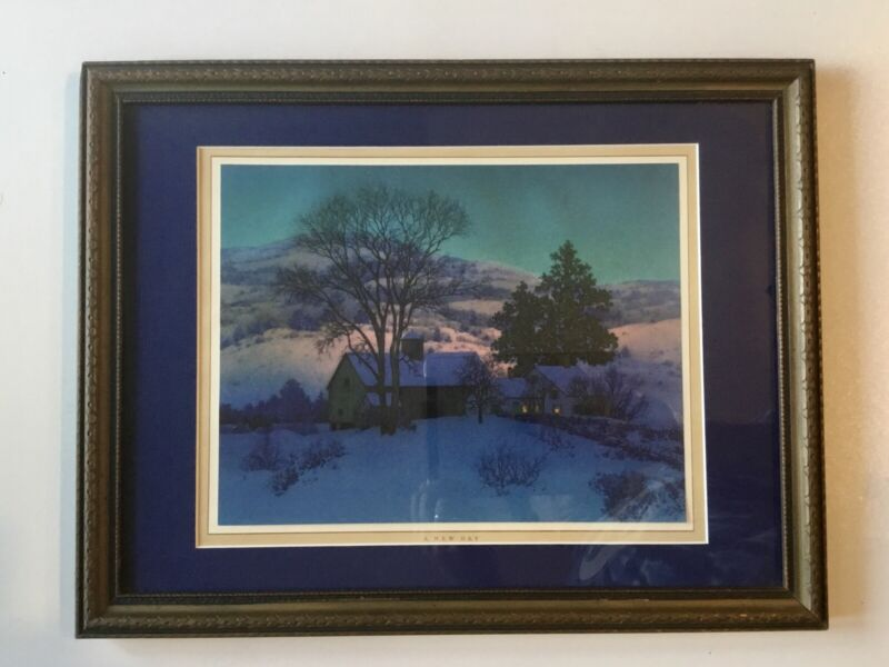 "Maxfield Parrish, A New Day ""Afterglow"" 1947 Antique Arts And Crafts Frame"