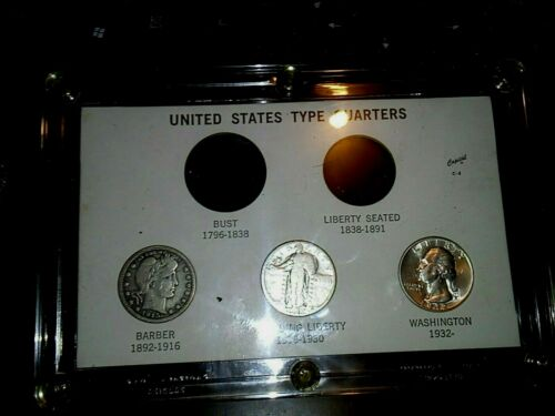1915-D  1935  and 1942 Silver Quarters with US Type Quarters Coin Holder