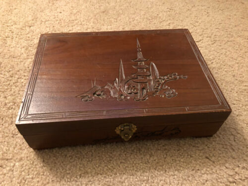 Beautiful Hand Carved Vintage Jewelry Box Made in Okinawa Japan