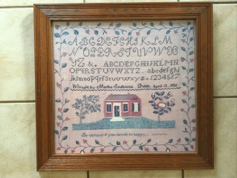 "Vintage Embroidered Needlepoint Sampler ""Martha Southwick 1836"" Cape Craftsmen"