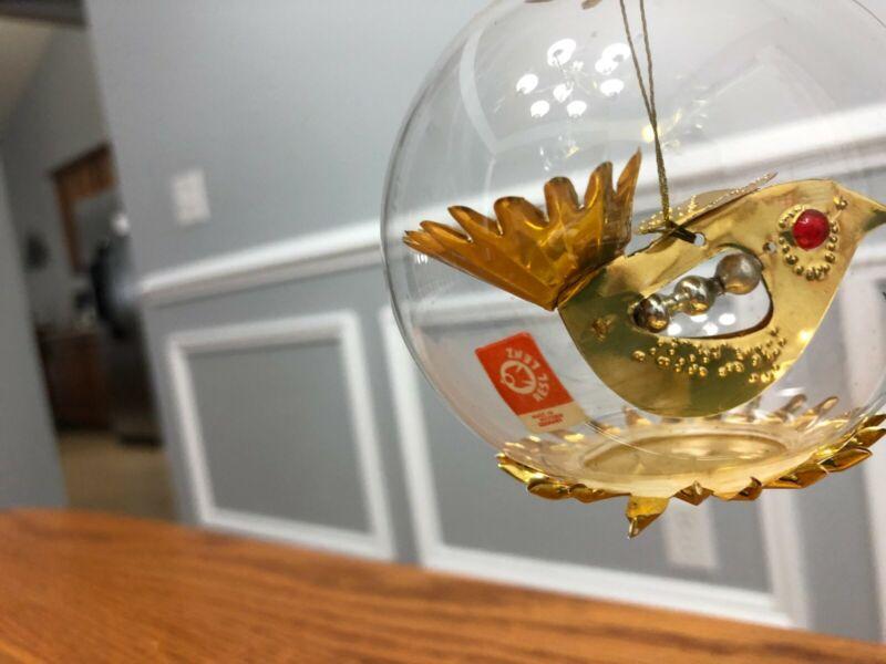 Resl Lenz Clear Glass Christmas Ornament Globe w/ Gold Foil Bird West Germany