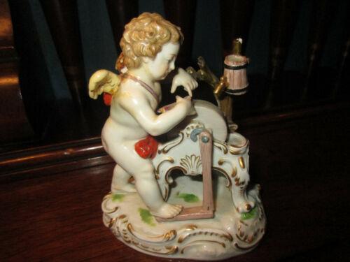 Antique Meissen Porcelain Cupid Putti Sharp Arrow Dominating