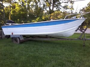 Sold pending pickup  18 foot aluminum boat,motor and trailer